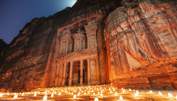 petra at night lit by hundreds of candles
