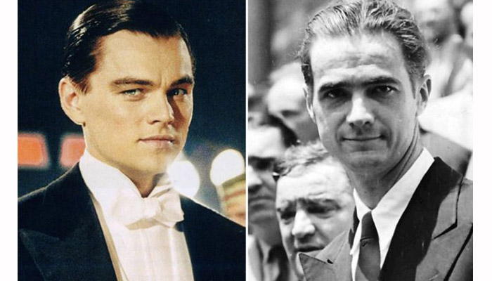 Side by side photos of Leonardo DiCaprio and Howard Hughes