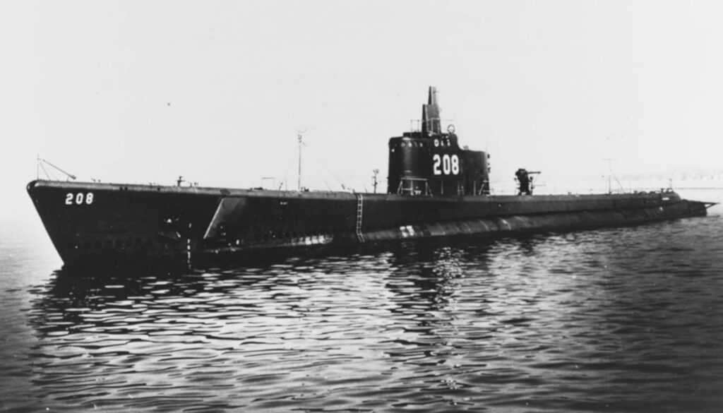 USS Grayback on the surface of the water